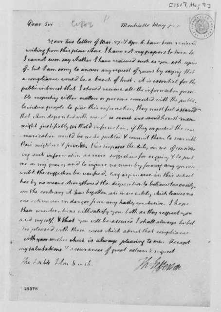 Thomas Jefferson to John Smith, May 7, 1807