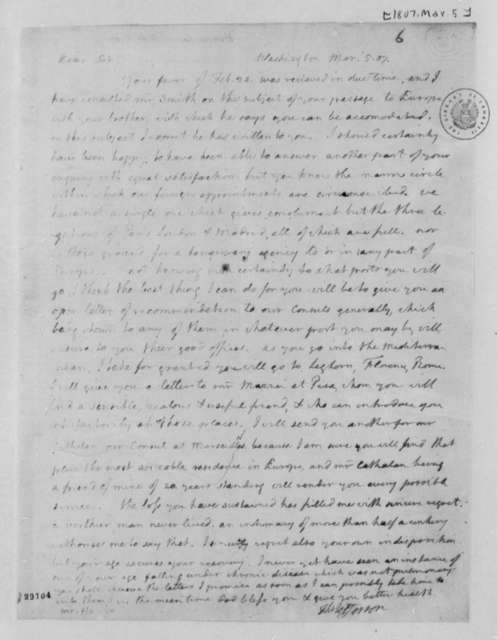 Thomas Jefferson to Lewis Harvie, March 5, 1807