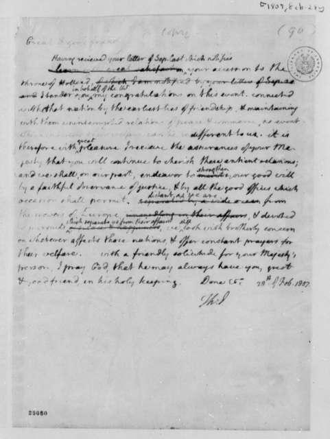Thomas Jefferson to Louis Bonaparte, February 28, 1807