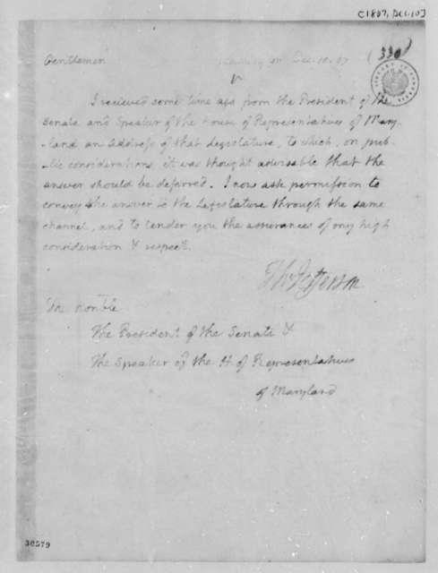 Thomas Jefferson to Maryland Legislature, December 10, 1807