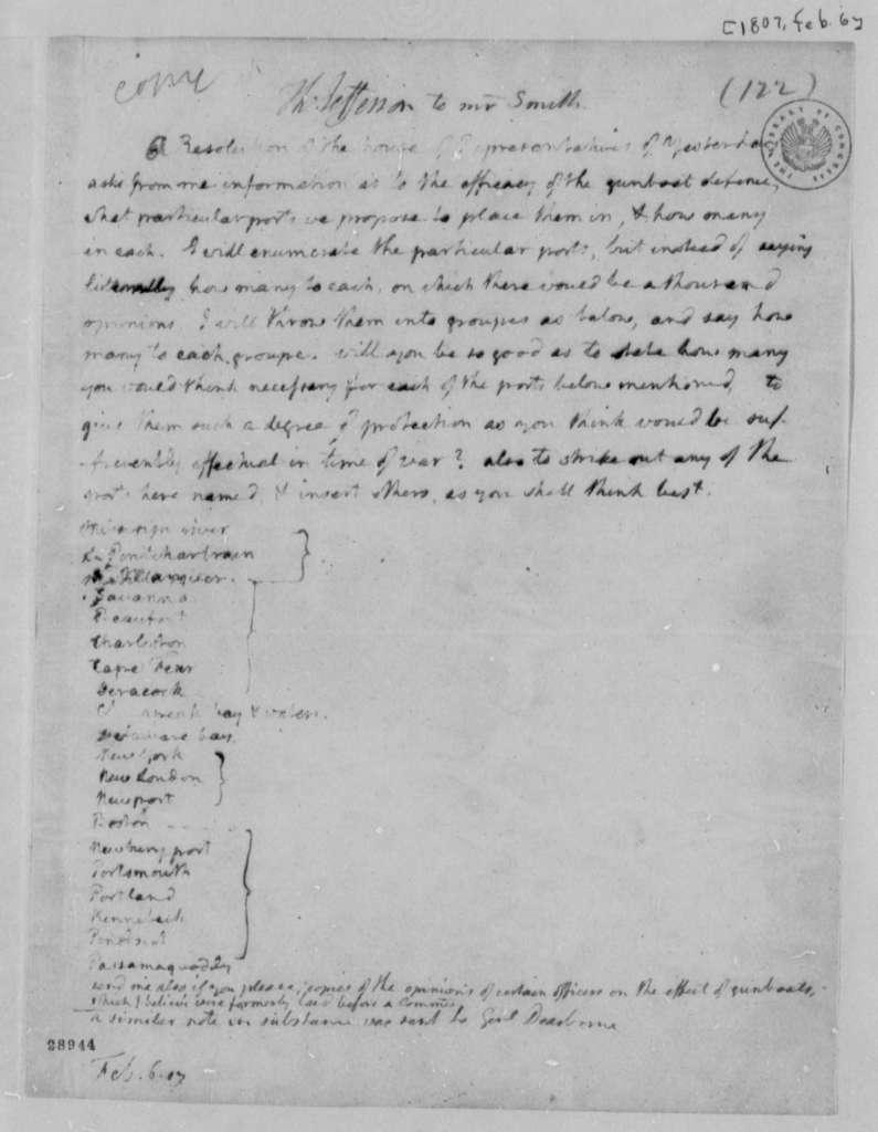 Thomas Jefferson to Robert Smith, February 6, 1807