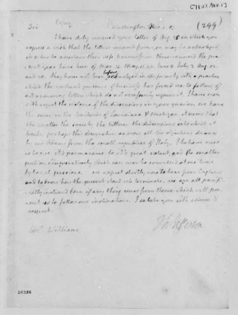 Thomas Jefferson to Robert Williams, November 1, 1807