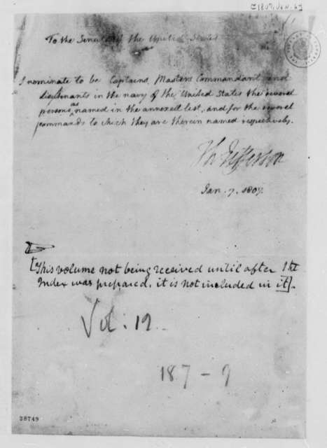 Thomas Jefferson to Senate, January 6, 1807, Naval Officer Nominations