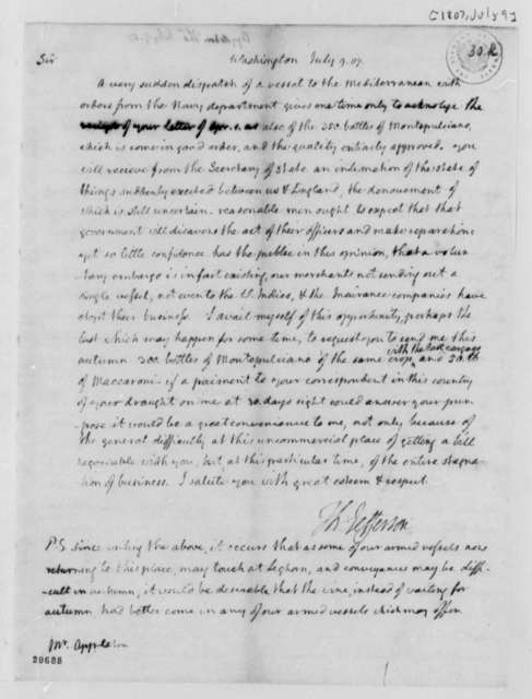 Thomas Jefferson to Thomas Appleton, July 9, 1807