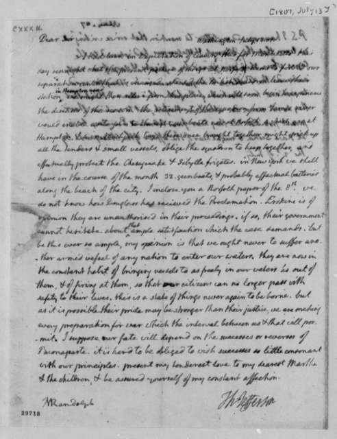 Thomas Jefferson to Thomas Mann Randolph, Jr., July 13, 1807