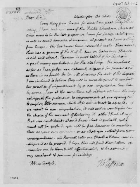 Thomas Jefferson to Thomas Mann Randolph, Jr., October 26, 1807, with Copy