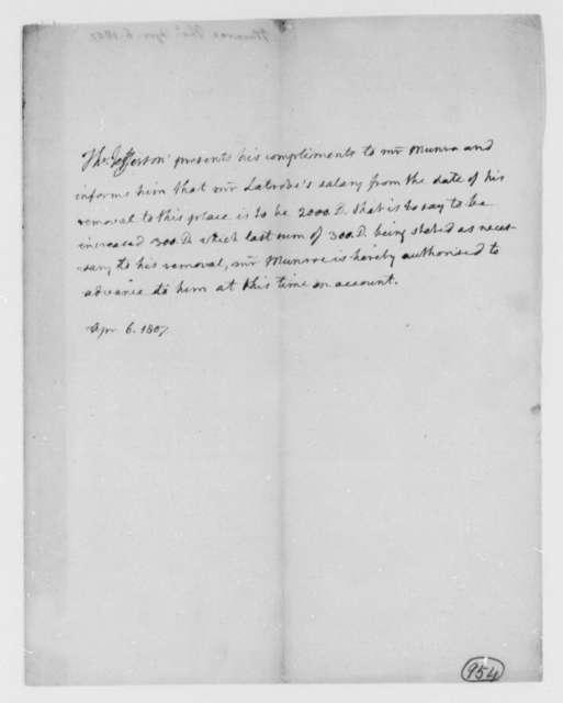 Thomas Jefferson to Thomas Munroe, Superintendent of the City, April 6, 1807