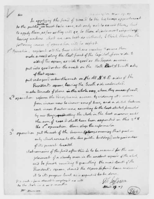 Thomas Jefferson to Thomas Munroe, Superintendent of the City, March 19, 1807