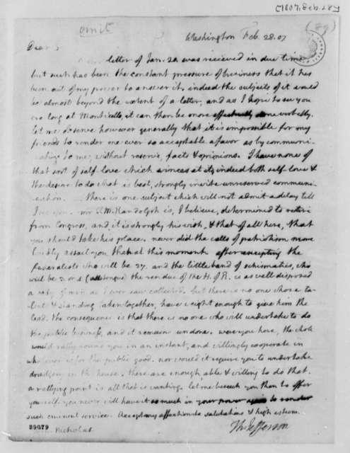 Thomas Jefferson to Wilson Cary Nicholas, February 28, 1807