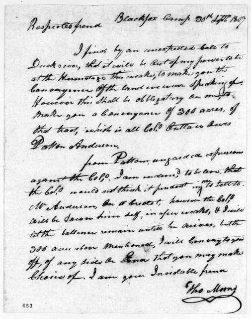 Thomas Moors to Andrew Jackson, September 30, 1807