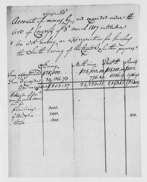 Thomas Munroe, Superintendent of the City to Thomas Jefferson, 1807, Account of Expenditures