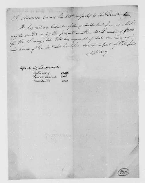 Thomas Munroe, Superintendent of the City to Thomas Jefferson, April 4, 1807