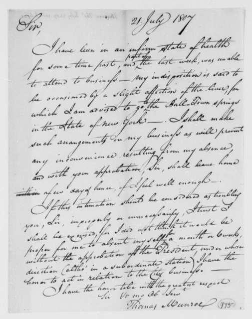 Thomas Munroe, Superintendent of the City to Thomas Jefferson, July 21, 1807