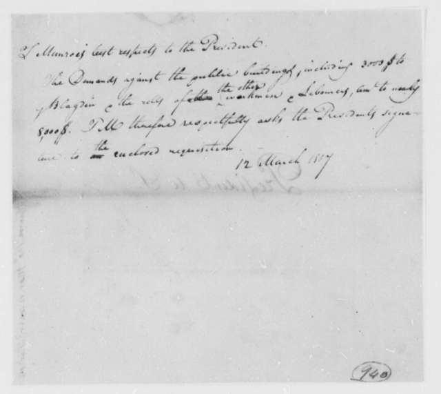 Thomas Munroe, Superintendent of the City to Thomas Jefferson, March 12, 1807