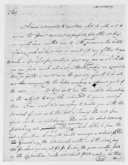 Thomas Munroe, Superintendent of the City to Thomas Jefferson, March 18, 1807