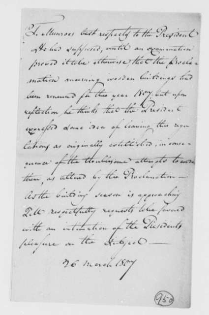 Thomas Munroe, Superintendent of the City to Thomas Jefferson, March 26, 1807