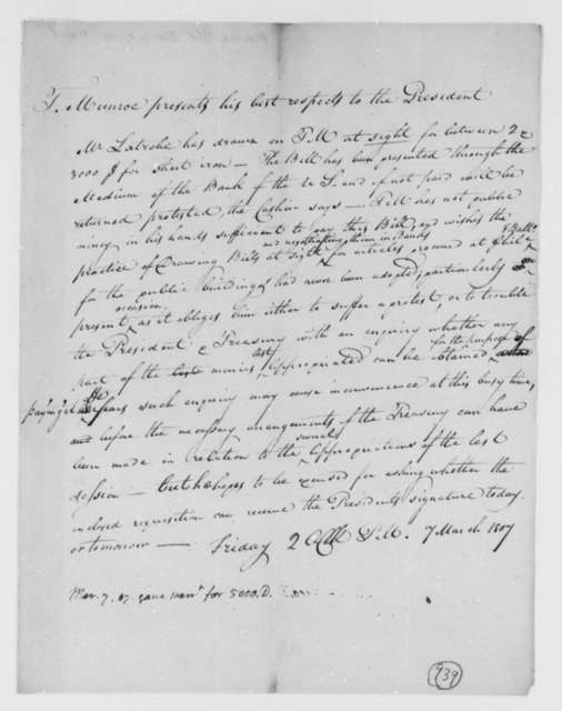 Thomas Munroe, Superintendent of the City to Thomas Jefferson, March 7, 1807