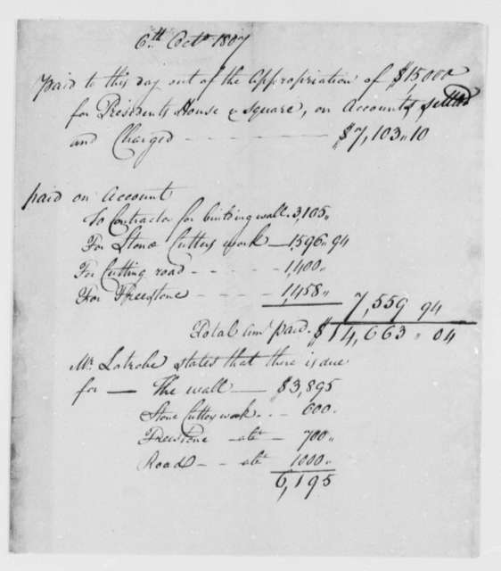 Thomas Munroe, Superintendent of the City to Thomas Jefferson, October 7, 1807, Report on Expenditures