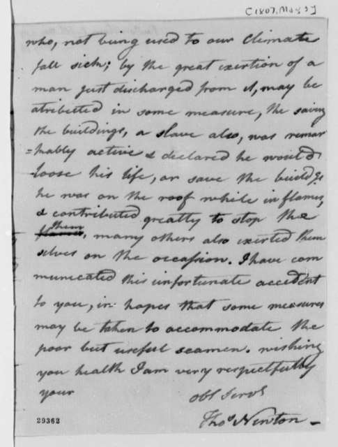 Thomas Newton to Thomas Jefferson, May 3, 1807