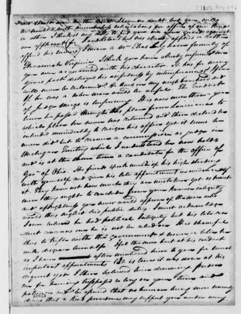 Thomas Worthington to Thomas Jefferson, August 23, 1807