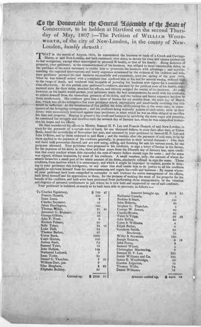 To the honourable the General Assembly of the State of Connecticut, to be holden at Hartford, on the second Thursday of May, 1807:- The petition of William Woodworth, of the city of New- London, in the county of New-London humbly sheweth ... Dat