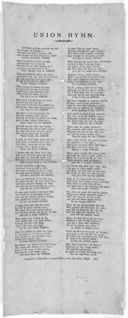 Union hymn. Greenwich:- Printed by John Howe, Price six cents, single. 1807.