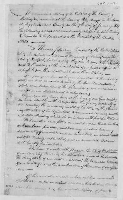 Washington County, New York, Republicans to Thomas Jefferson, January 7, 1807, Address