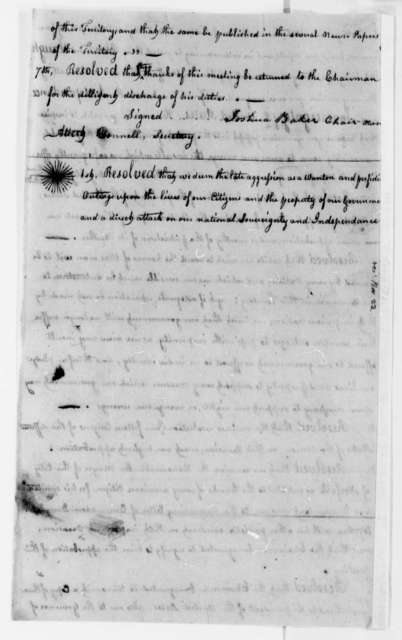 Wilkinson County, Mississippi, Territory Citizens, August 19, 1807, Resolutions