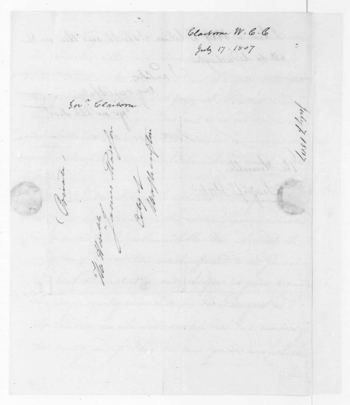 William C. C. Claiborne to James Madison, July 17, 1807.