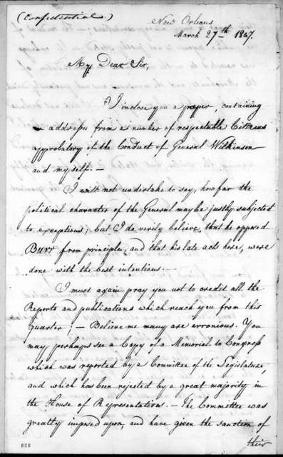 William Charles Cole Claiborne to Andrew Jackson, March 27, 1807