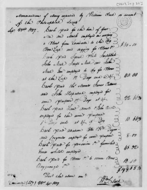 William Clark, September 22, 1807, Memorandum of American Philosophical Society