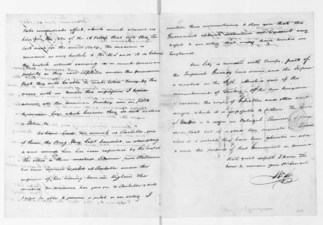 William Lee to James Madison, December 10, 1807. & Note by J Silliman.