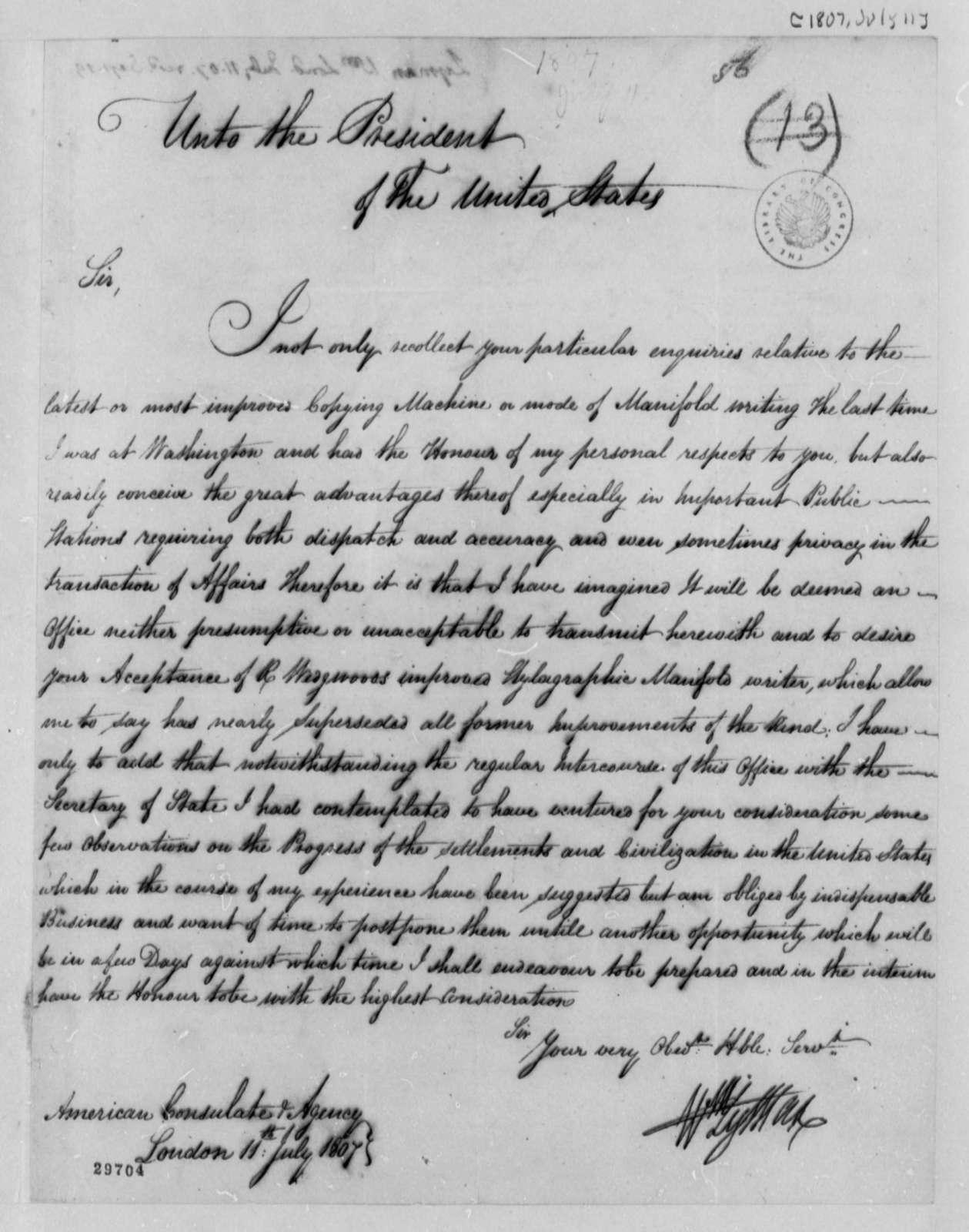 William Lyman to Thomas Jefferson, July 11, 1807
