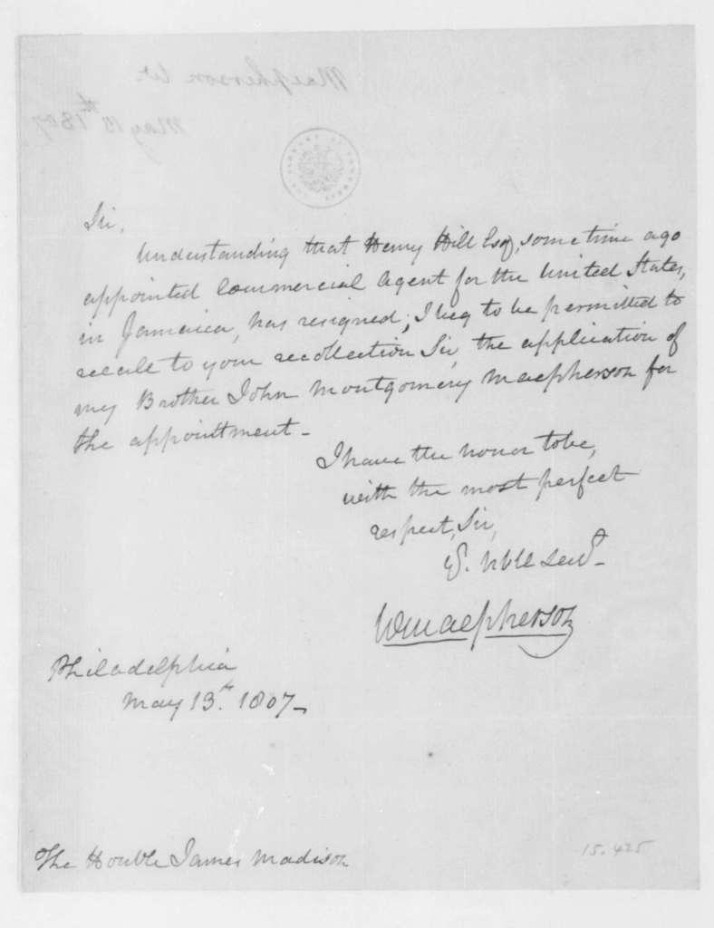 William MacPherson to James Madison, May 13, 1807.