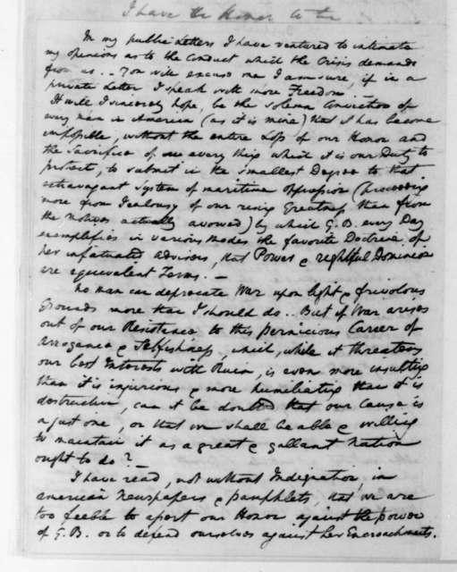 William Pinkney to James Madison, December 31, 1807.