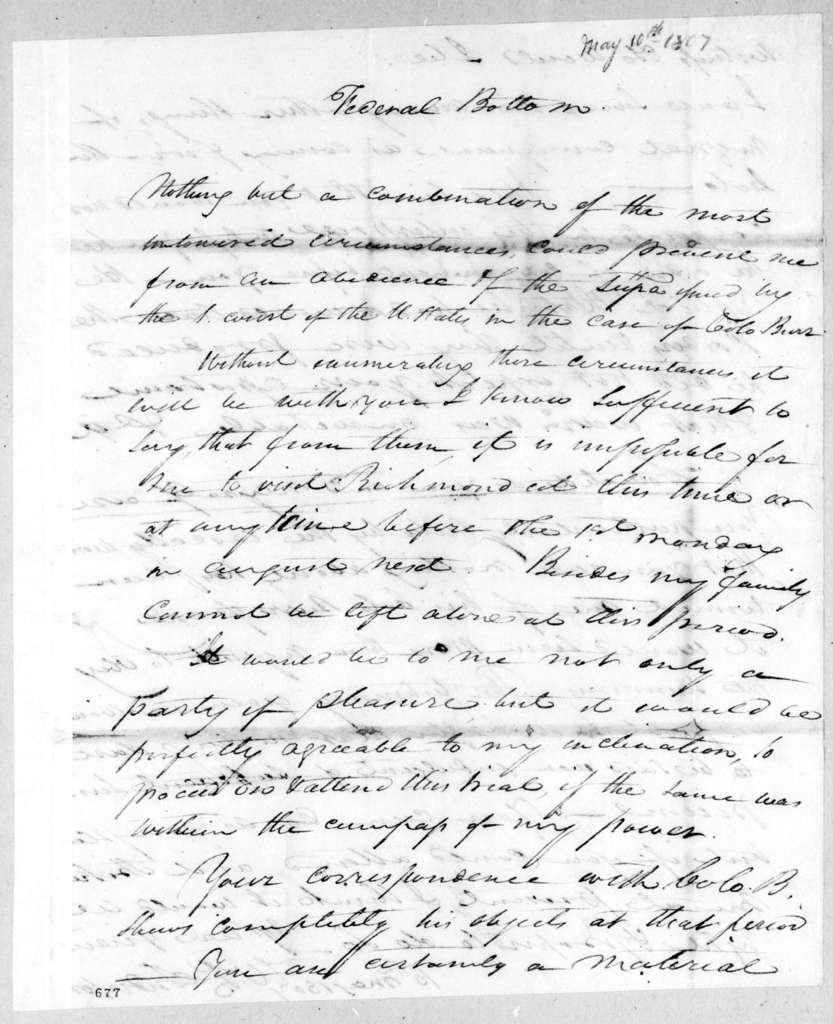 William Preston Anderson to Andrew Jackson, May 10, 1807