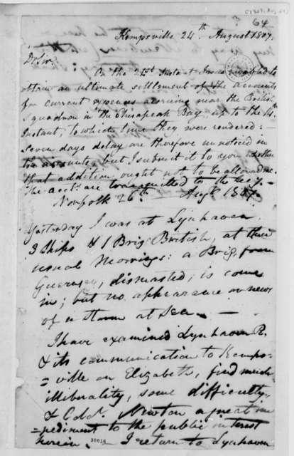 William Tatham to Thomas Jefferson, August 24, 1807