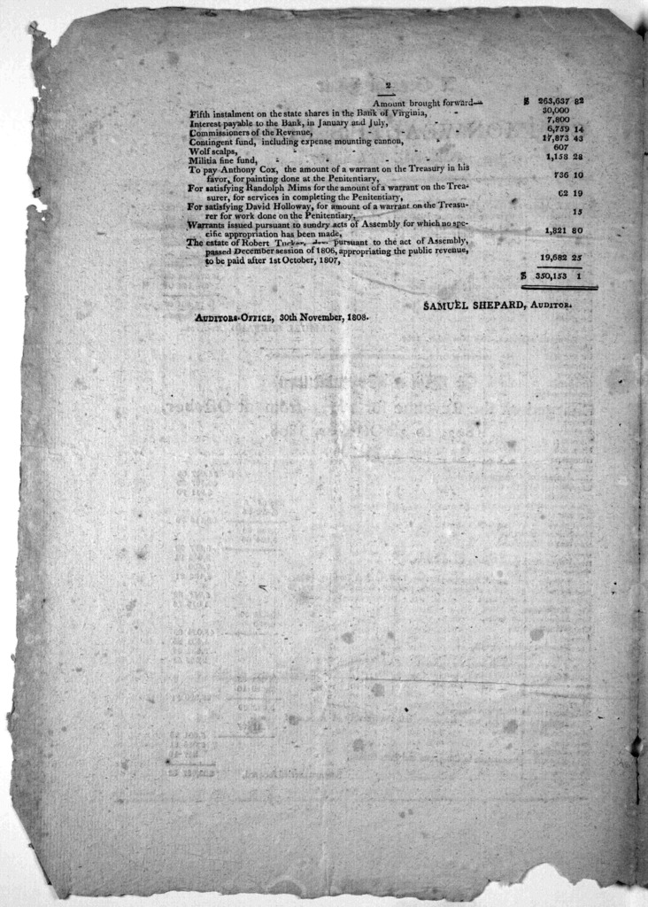 A general state of the Commonwealth's revenue for the year 1807 ... Auditor's office 30th November, 1808.