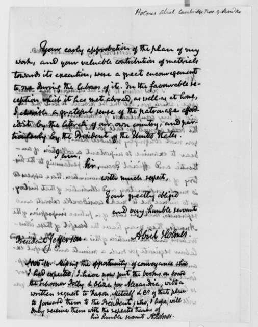 Abiel Holmes to Thomas Jefferson, November 9, 1808