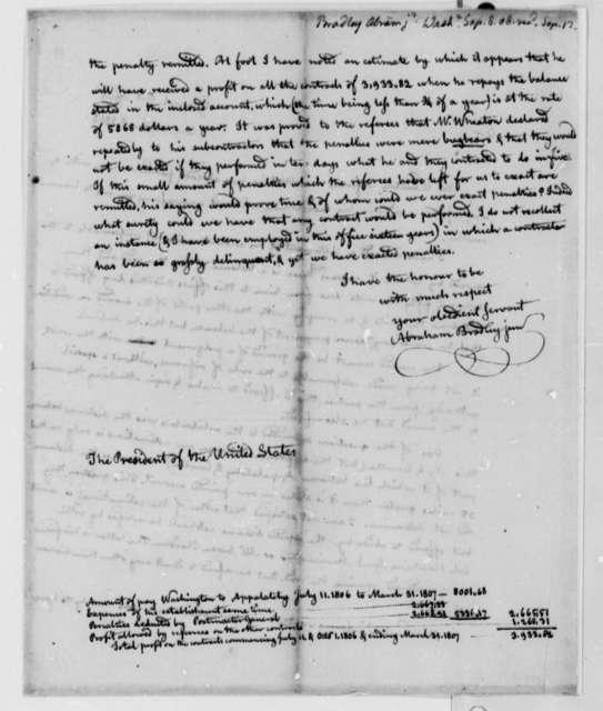 Abraham Bradley, Jr. to Thomas Jefferson, September 8, 1808