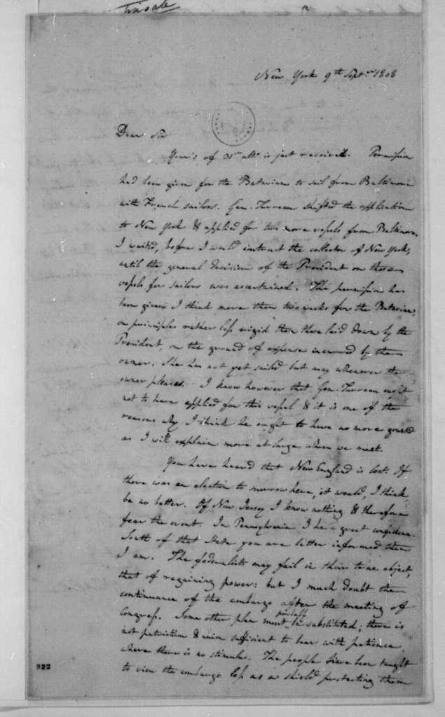 Albert Gallatin to James Madison, September 9, 1808.