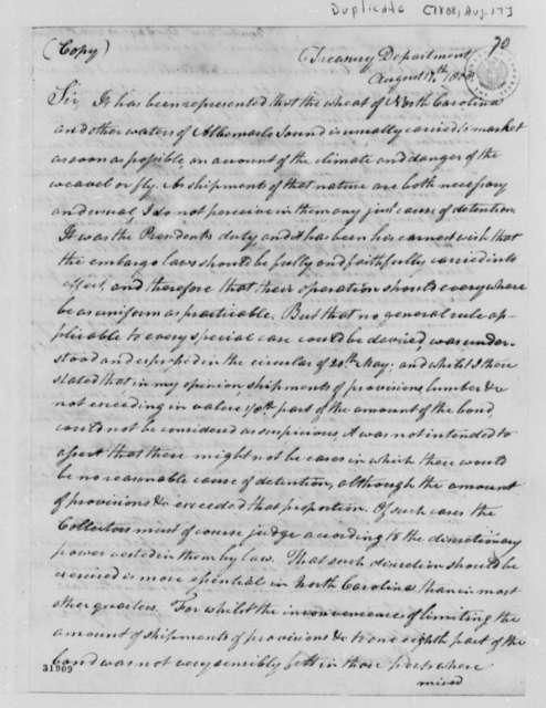 Albert Gallatin to Samuel Tredwell, August 17, 1808