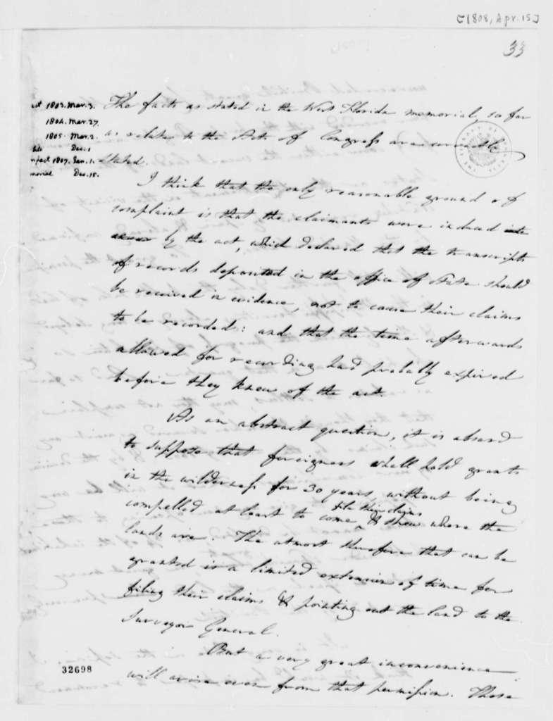 Albert Gallatin to Thomas Jefferson, April 15, 1808