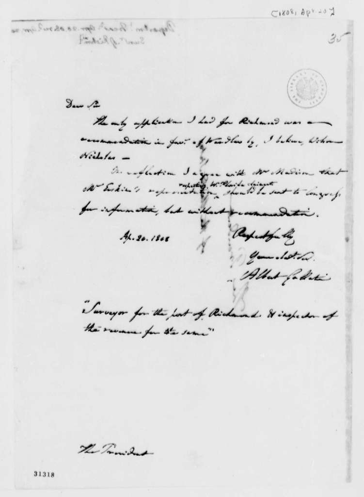 Albert Gallatin to Thomas Jefferson, April 20, 1808