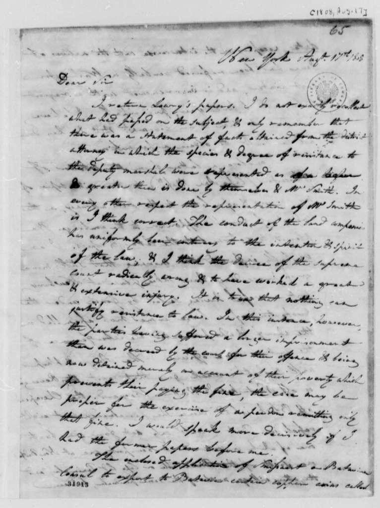 Albert Gallatin to Thomas Jefferson, August 17, 1808