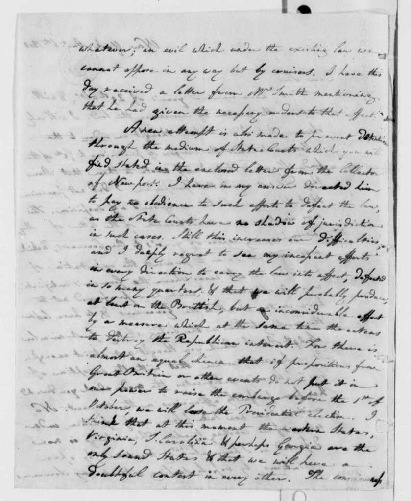 Albert Gallatin to Thomas Jefferson, August 6, 1808
