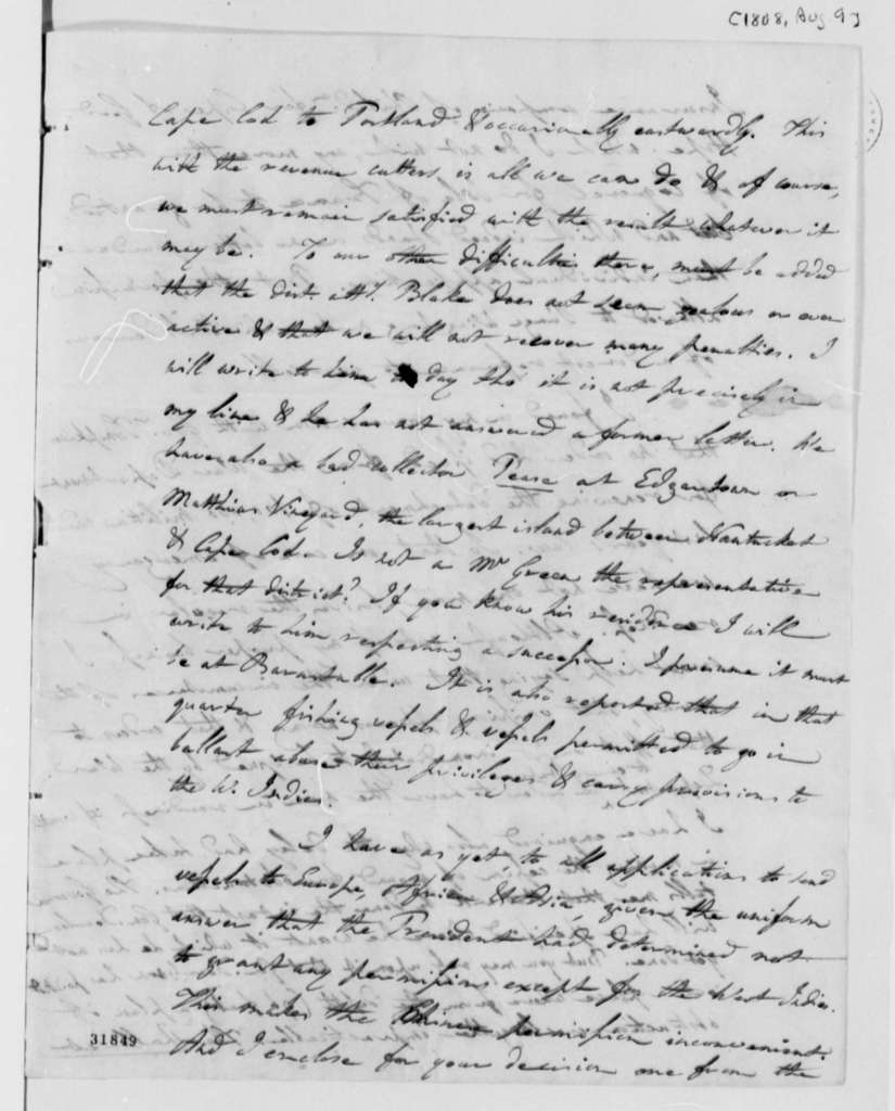 Albert Gallatin to Thomas Jefferson, August 9, 1808