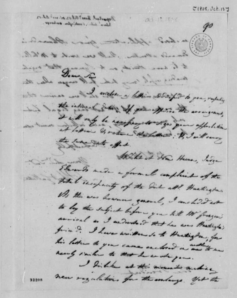 Albert Gallatin to Thomas Jefferson, October 13, 1808