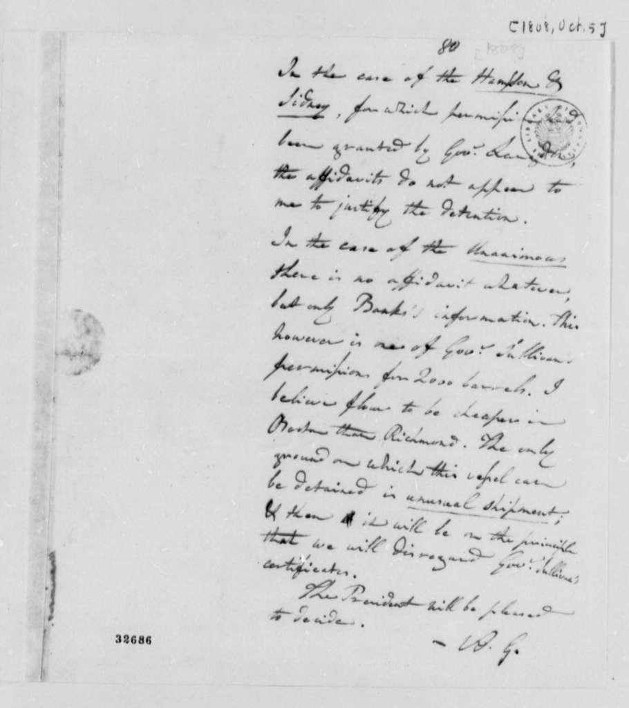 Albert Gallatin to Thomas Jefferson, October 5, 1808, Opinion