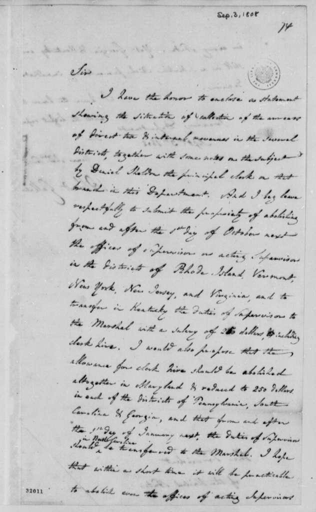 Albert Gallatin to Thomas Jefferson, September 3, 1808